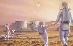 humains sur la planète mars